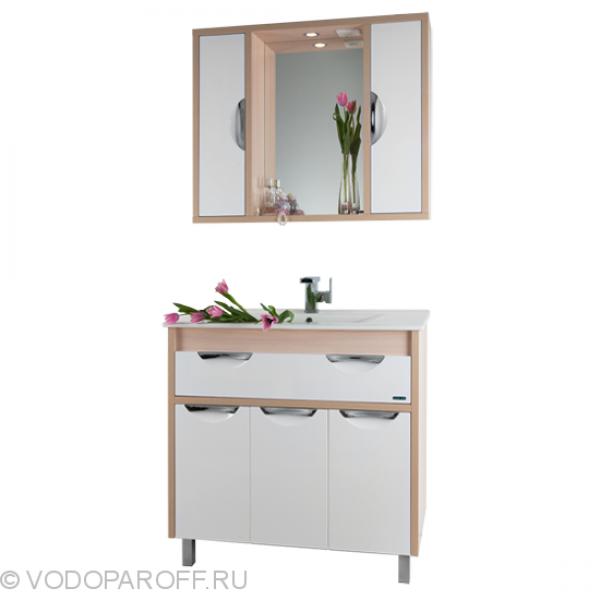Комплект мебели для ванной комнаты Габи 90 (цвет дуб с белым)