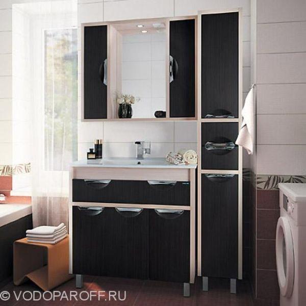 Комплект мебели для ванной комнаты Габи 90 с пеналом (цвет дуб с венге)
