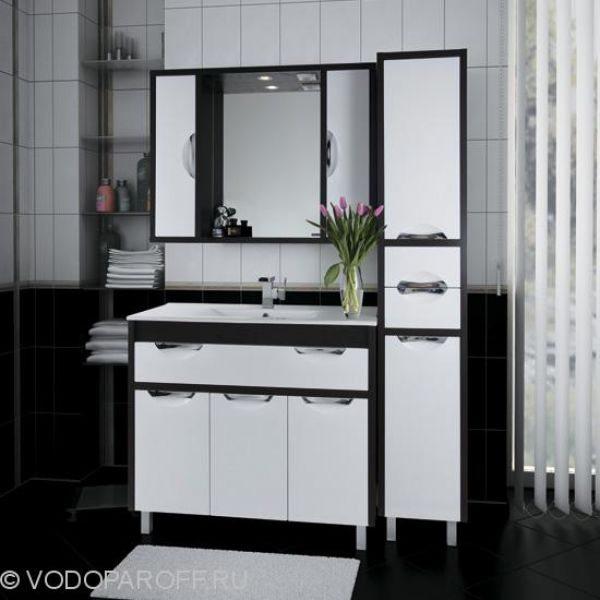 Комплект мебели для ванной комнаты Габи 100 с пеналом (цвет венге с белым)