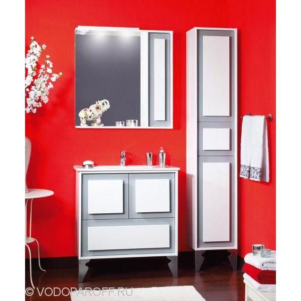Комплект мебели для ванной комнаты Бриклаер АЛЕКСАНДРИЯ 80 с пеналом (цвет титан с белым)