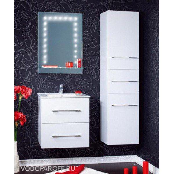 Комплект мебели для ванной комнаты Бриклаер СИЭТЛ 60 с пеналом (цвет белое серебро)