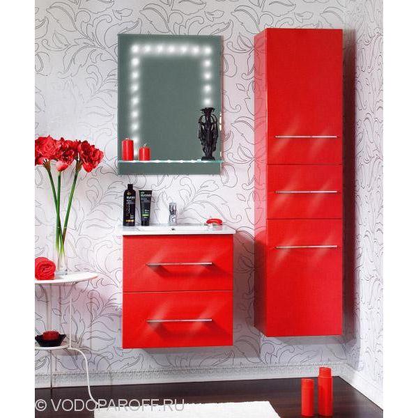 Комплект мебели для ванной комнаты Бриклаер СИЭТЛ 60 с пеналом (цвет красный)