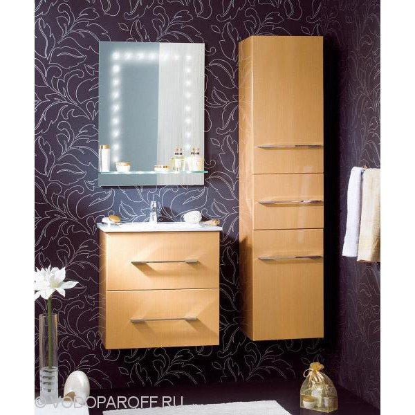 Комплект мебели для ванной комнаты Бриклаер СИЭТЛ 60 с пеналом (цвет золотой)