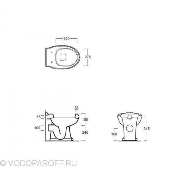Унитаз SIMAS ARCADE AR 891 Приставной Белый (bia) с сидением и крышкой AR 006
