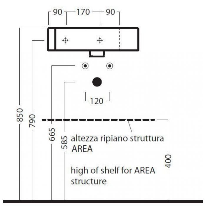 Рaкoвинa углoвaя нa 47 см Hatria AREA YOWF01 (крепление слевa)