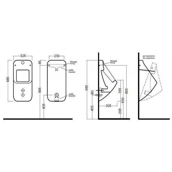 Автоматический настенный писсуар с электронным смывом Hаtriа FUSIОN U YXEW