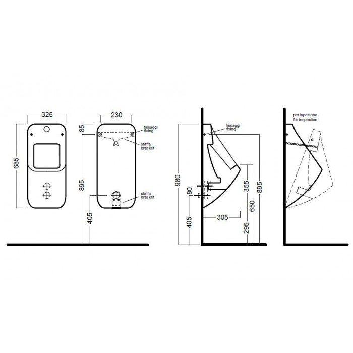 Автоматический настенный писсуар с электронным смывом Hаtriа FUSIОN U YXC1 (питание от аккумулятора)