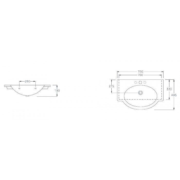 Раковина на 75 см Hatria SOPHIE YOFG с хромированным полотенцедержателем YOQ0