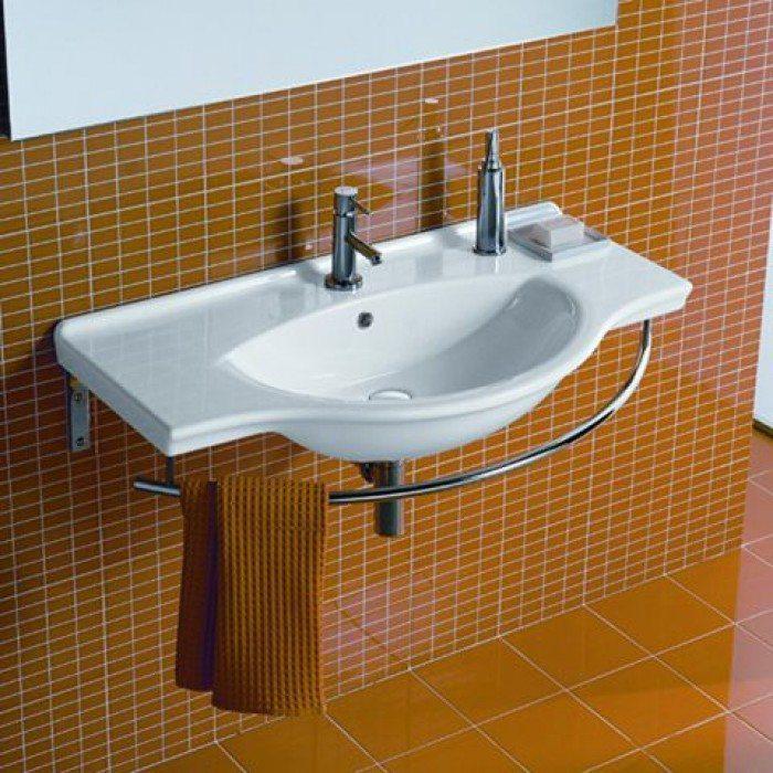 Раковина для ванной комнаты на 95 см Hatria SOPHIE YOHC с хромированным полотенцедержателем YOPT