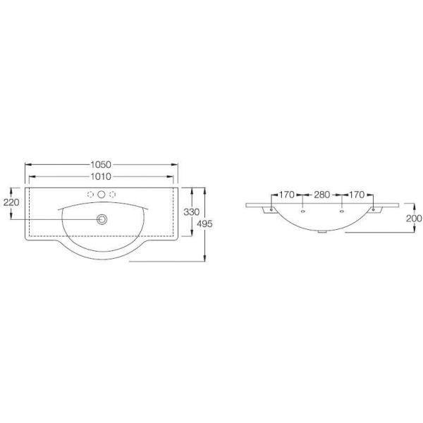 Раковина на 105 см Hatria SOPHIE YU90 с полотенцедержателем YOPS и подвесной полкой YOPK