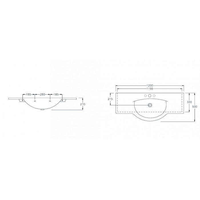 Раковина на 120 см Hatria SOPHIE YOHE с хромированным полотенцедержателем YOPR