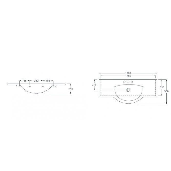 Раковина на 120 см Hatria SOPHIE YOHE с хромированным полотенцедержателем YOPR и подвесной полкой YPOY