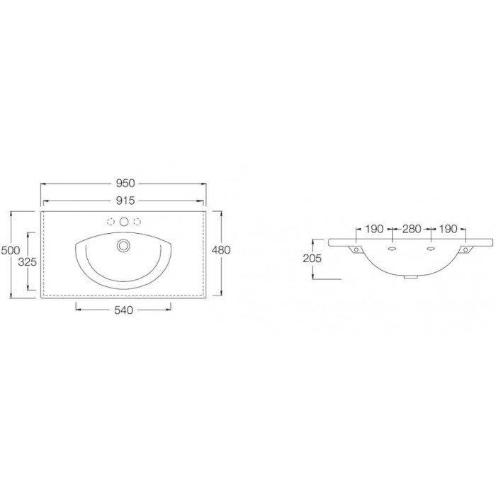 Раковина на 95 см Hatria SUSAN YOHI с хромированным полотенцедержателем YOKA