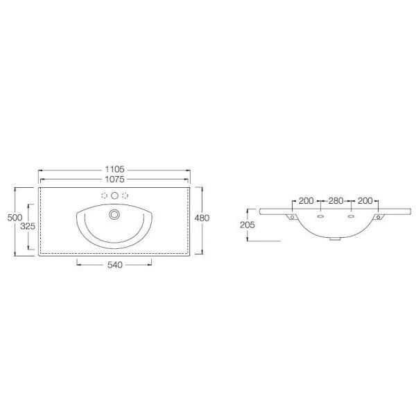 Раковина на 110 см Hatria SUSAN Y0HM с хромированным полотенцедержателем YOK8