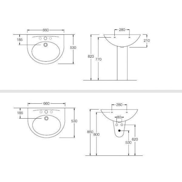 Раковина для ванной комнаты на 66 см Hatria ERIKA Y480