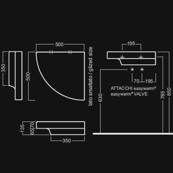 Полка керамическая Hatria GRANDANGOLO Y0YL SX (левая), с системой обогрева easywarm