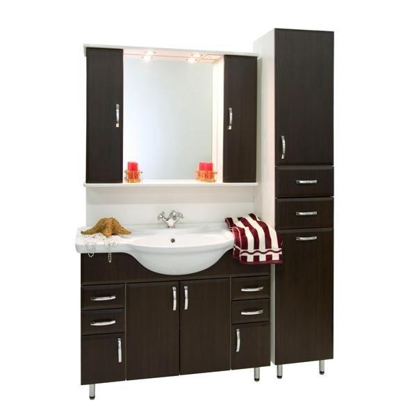 Комплект мебели для ванной комнаты Колумбия 105 с пеналом (цвет венге)