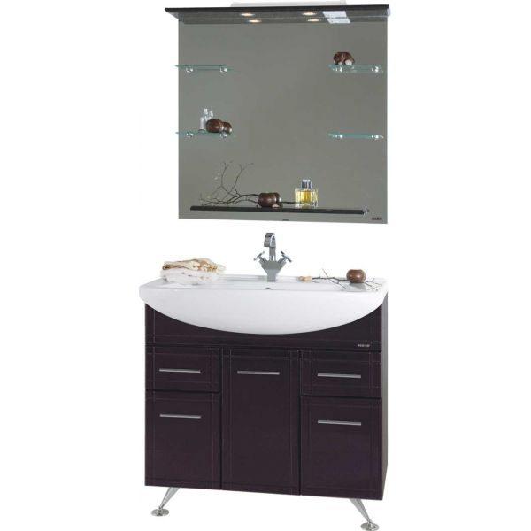 Комплект мебели для ванной Альфа 90 Чёрный бриллиант