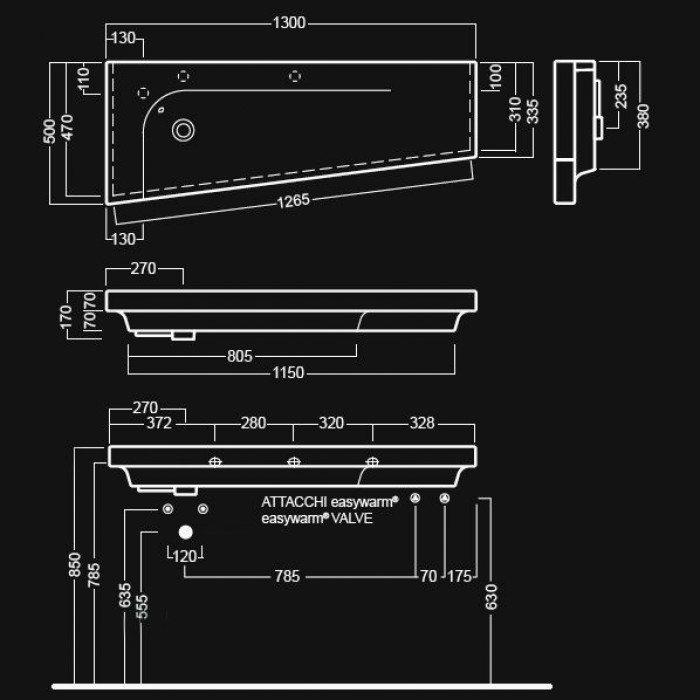 Раковина на 130 см Hatria GRANDANGOLO G-130 dx Y0XT
