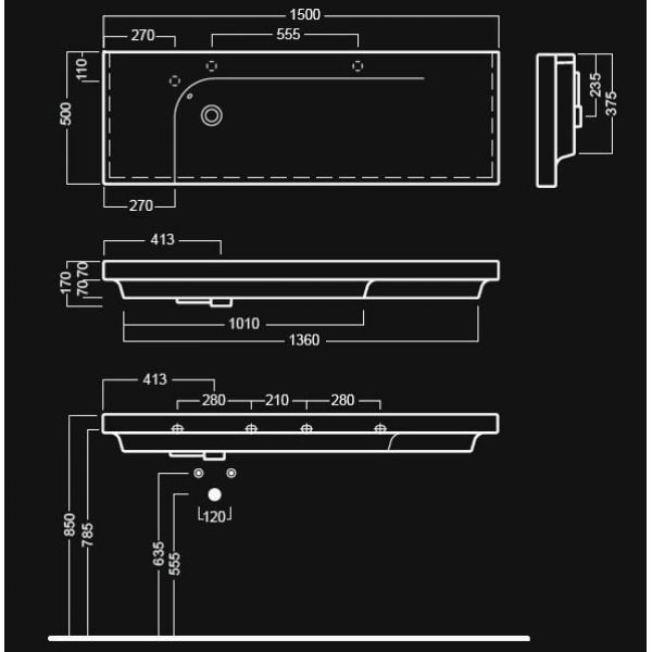 Раковина на 150 см Hatria GRANDANGOLO G-150 Y0V8