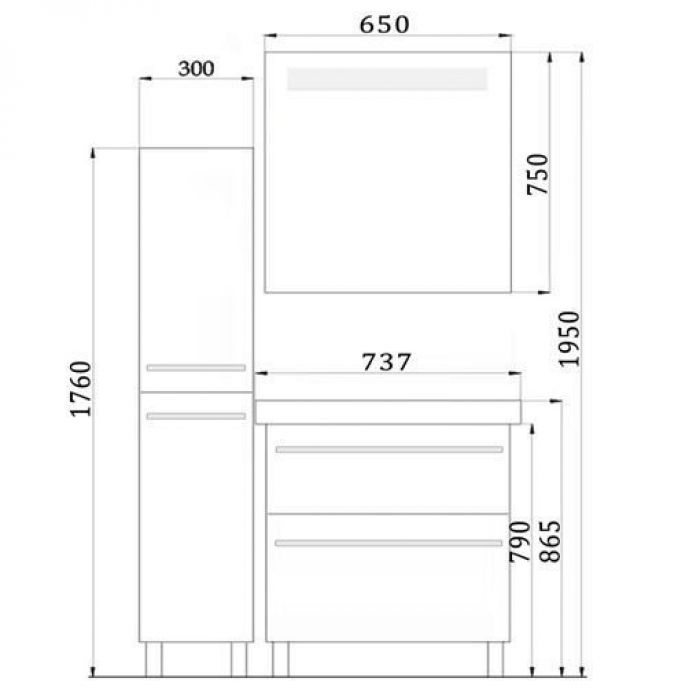 Комплект мебели для ванной комнаты NOVITA Q7 (цвет красный)