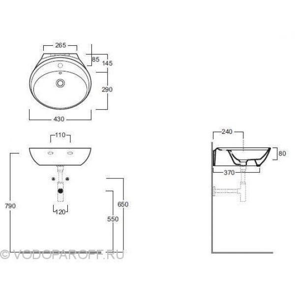 Раковина на 50 см. SIMAS Bohemien BO 10 bia на одно отверстие под смеситель