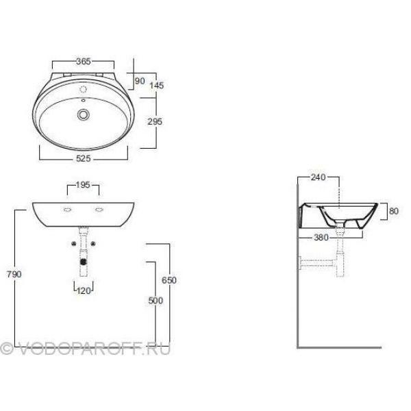 Раковина на 60 см. SIMAS Bohemien BO 11 nero на одно отверстие под смеситель