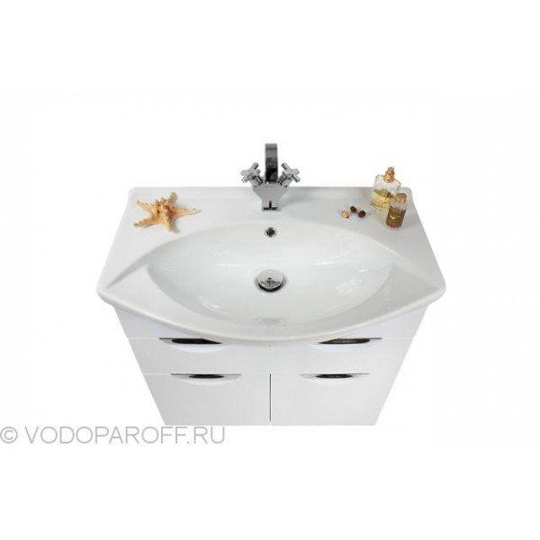 Тумба с раковиной Vod-ok Лира 75-ящики (белого цвета)