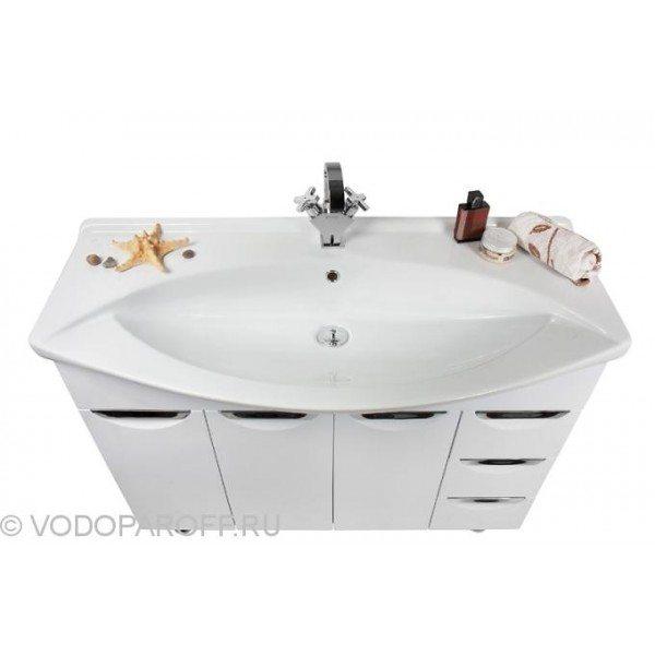 Тумба с раковиной для ванной комнаты Лира 105 с бельевой корзиной (цвет венге)