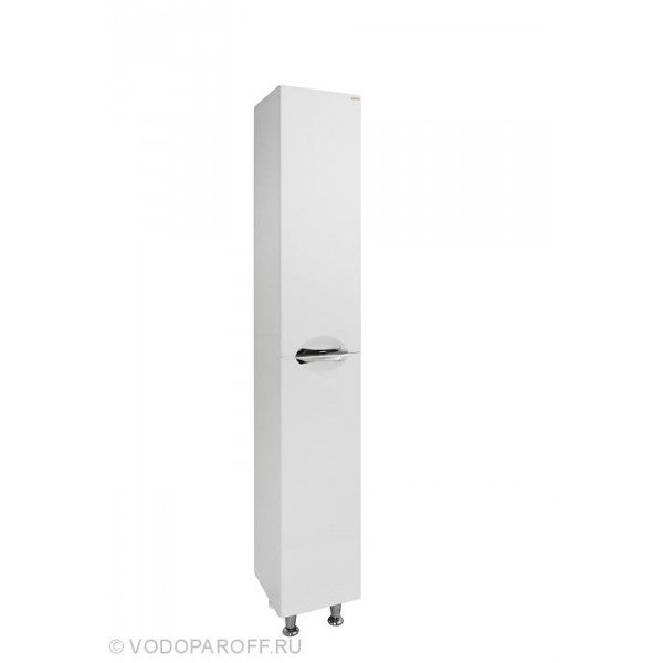 Пенал для ванной комнаты Лира 2 на 30 см. с бельевой корзиной (цвет белый)