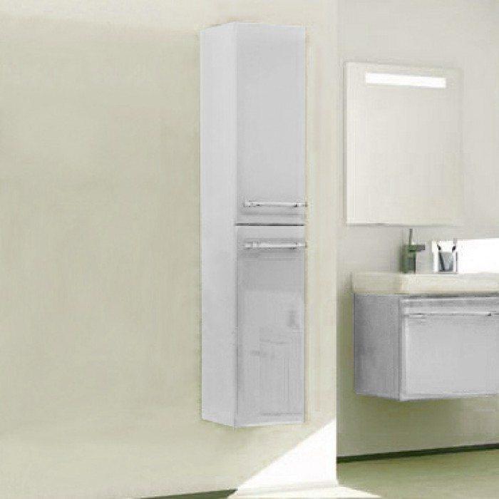 Пенал подвесной для ванной комнаты с корзиной для белья NOVITA Q7 (цвет белый)