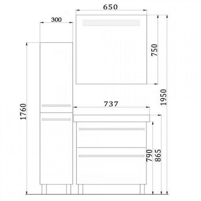 Комплект мебели для ванной комнаты NOVITA Q7 (цвет черный)