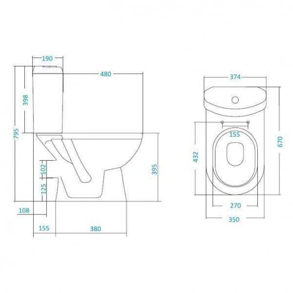 Унитаз моноблок SANTEK Сенатор-люкс с керамическим бачком