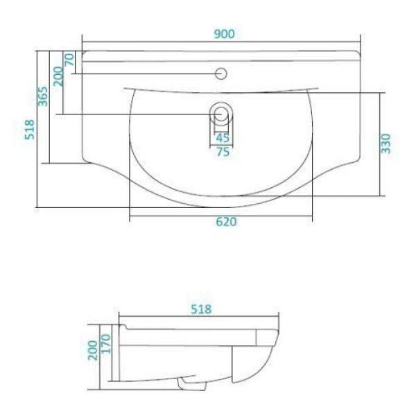 Раковина для мебели SANTEK «Эльбрус-90»