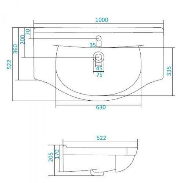 Раковина для мебели SANTEK «Эльбрус-100»