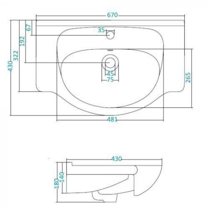 Раковина для мебели SANTEK «Линда-65»