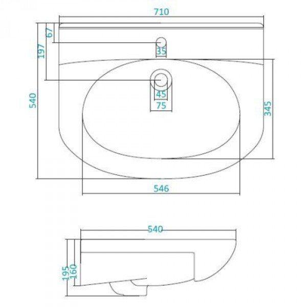 Раковина для мебели SANTEK «Лидия-70»