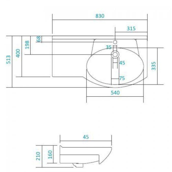 Раковина для мебели SANTEK «Коралл-82» с правым крылом
