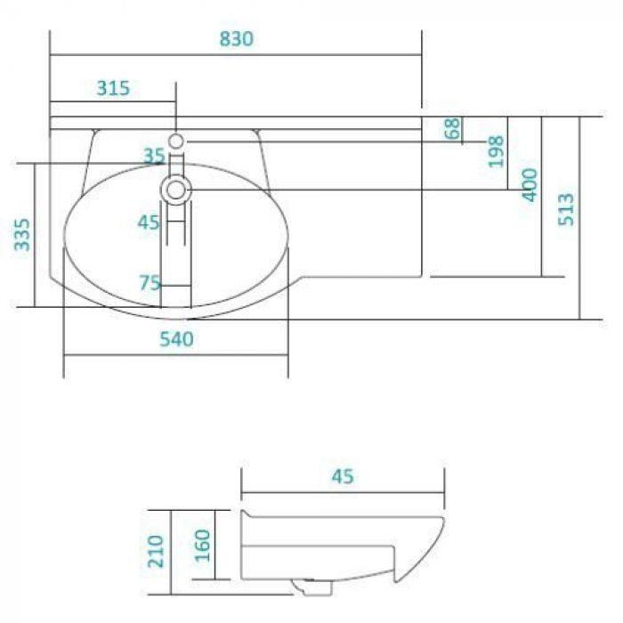 Раковина для мебели SANTEK «Коралл-82» с левым крылом