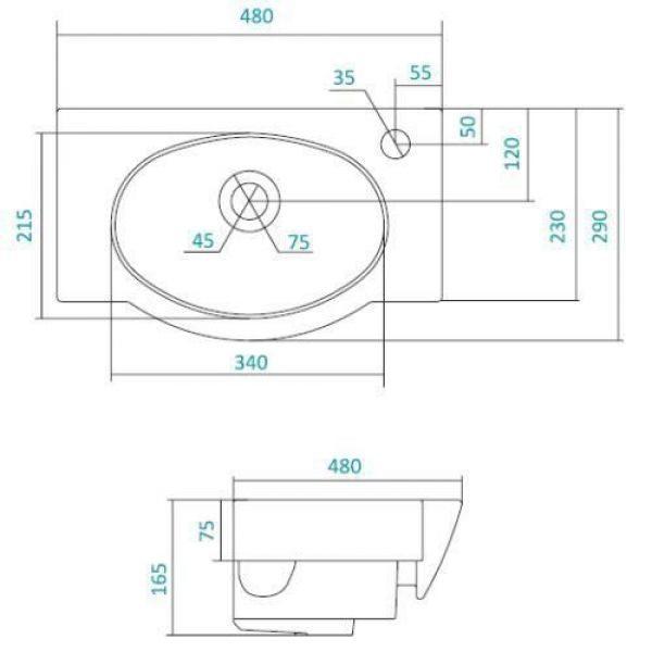 Раковина для мебели SANTEK «Печора-45»