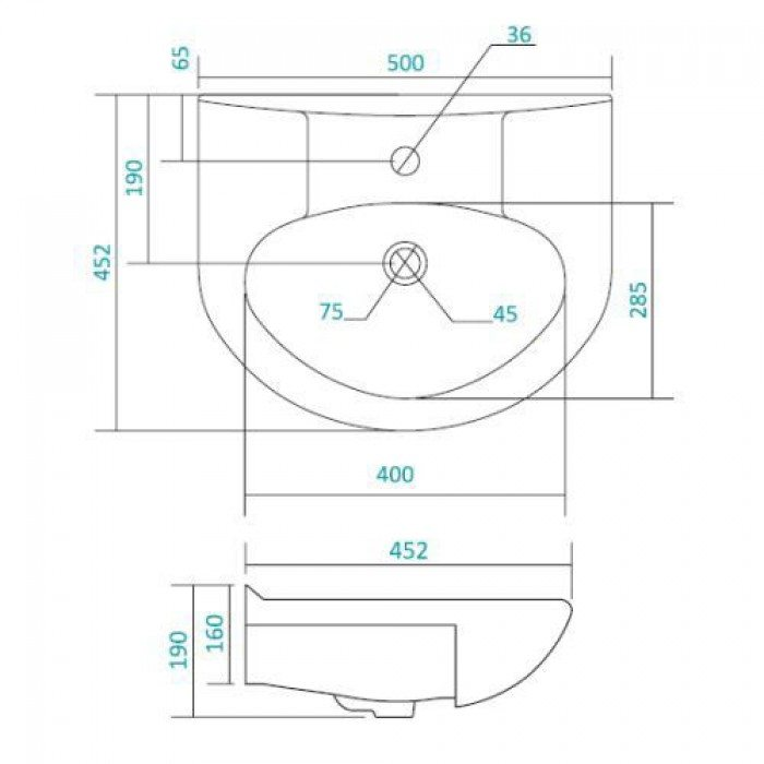 Раковина для мебели SANTEK «Канны-50»
