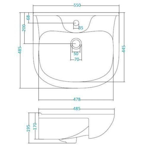Раковина для мебели SANTEK «Федерико-55»