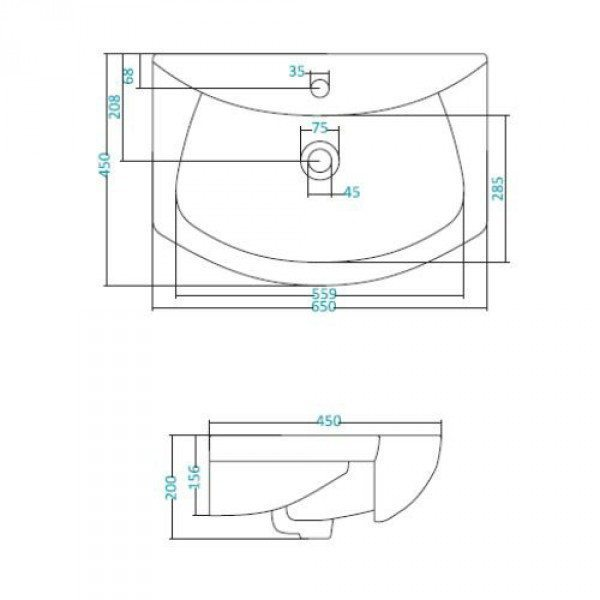 Раковина для мебели SANTEK «Лагуна-65»