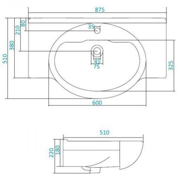 Раковина для мебели SANTEK «Сенеж-87»