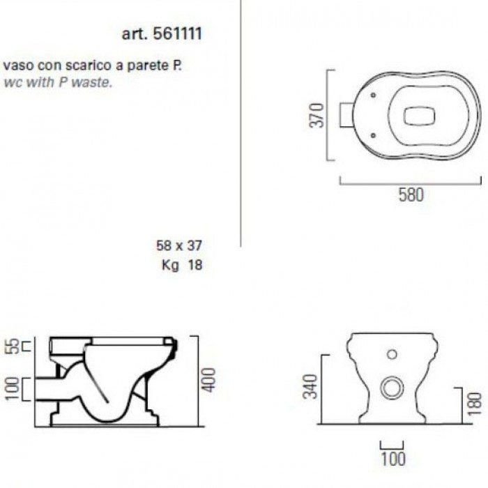 Унитаз напольный приставной GSI old antea 561111 (сидение и крышка орех)