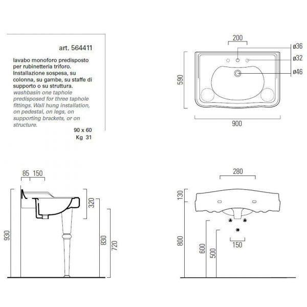 Раковина для ванной на 91 см GSI old antea 564411 на керамических ногах 567211
