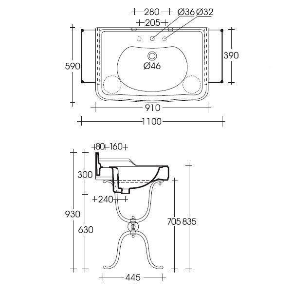 Раковина для ванной на 91 см GSI old antea 564411 с напольной металлической консолью MSA01N