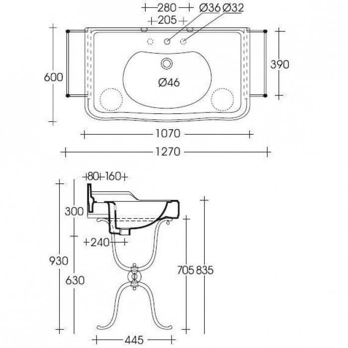 Раковина для ванной на 107 см GSI old antea 564611 с напольной металлической консолью MSA01C