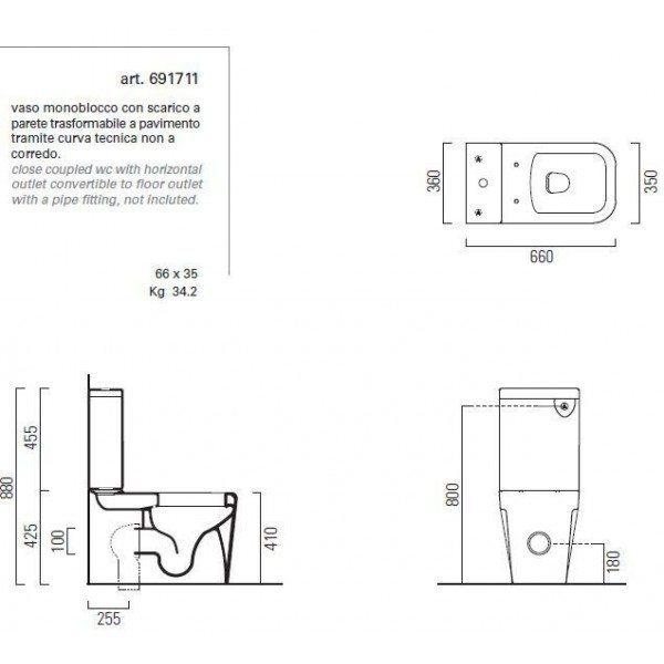 Унитаз моноблок GSI traccia 691711 с керамическим бачком 698111
