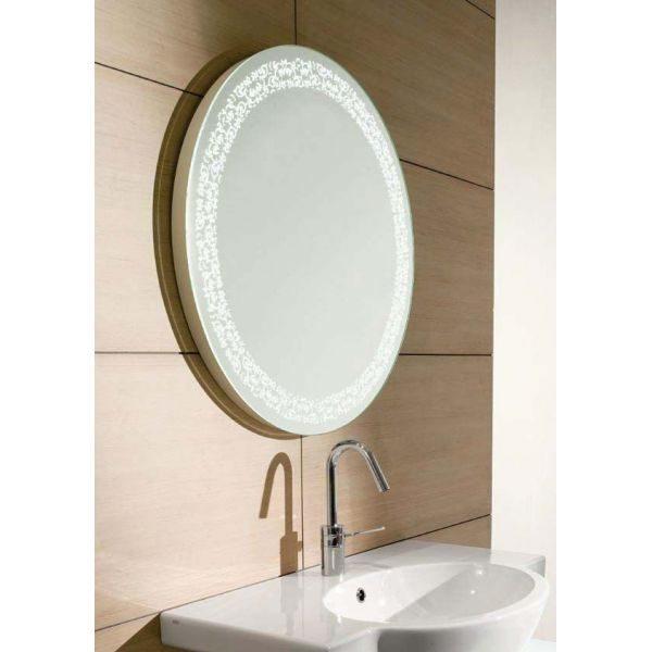 Зеркало для ванной комнаты круглое на 70 см GSI MSPEC12 (с декором и внутренней подсветкой)
